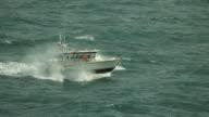 Slow Motion Shot Of A Boat At Sea