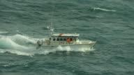 Slow Motion Shot Of Motor Boat On Choppy Sea