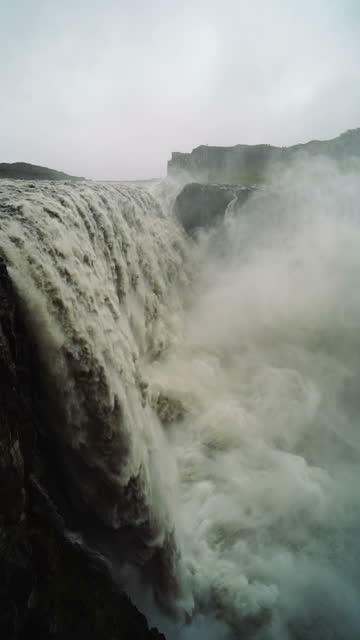 Slow motion shot of the Dettifoss vertical