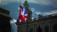 Slow motion shots of British flags in Belfast