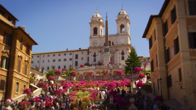Slow motion still shot of crowds at Trinità dei Monti