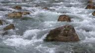 Slow Motion. The river Loisach near Ehrwald. Ehrwald Austria.
