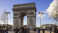 Slow motion time lapse of tourists with Arc de triomphe in background