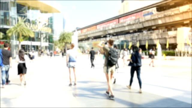 HD Slow Motion: Tourists walking street area in bangkok