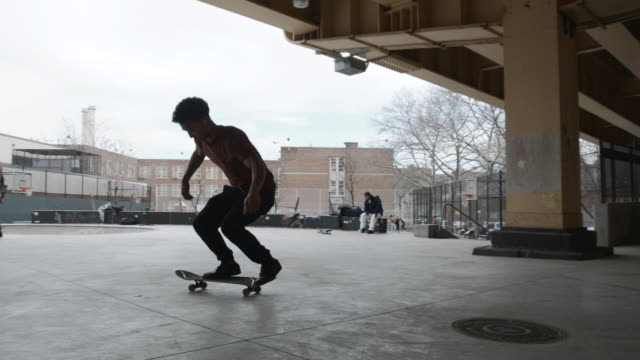 Slow Motion video of an unrecognizable man falling off of his skateboard
