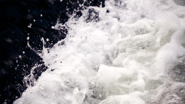 Slow motion: Waterfall background, flows of water