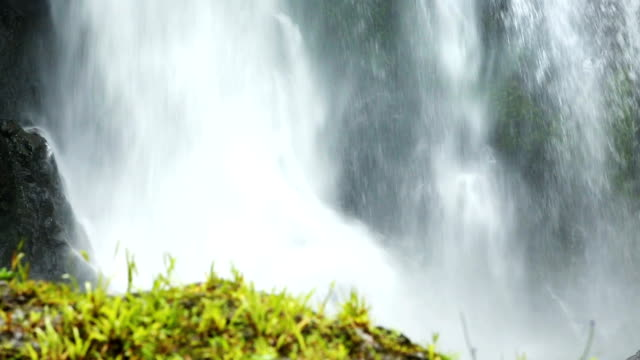 Slow Motion Waterfall with grassy mound