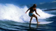 Slow motion wide shot female surfer riding wave in zigzag formation / Tahiti
