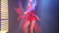 slow motion zoom in zoom out time lapse women dancing on stage in red costumes