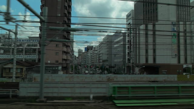 Slow motion,Side POV,View from through the window.Tokyo,Japan.