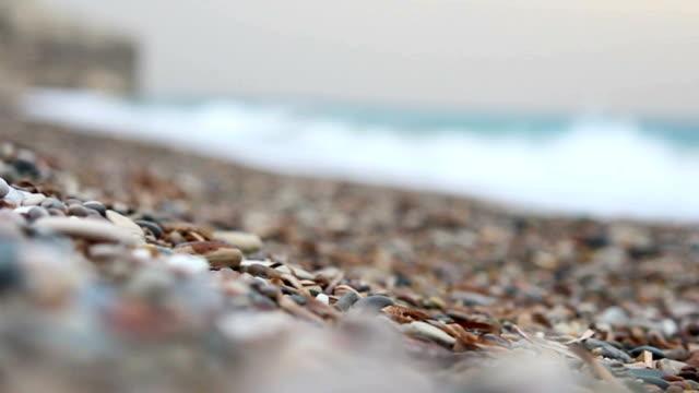 Slow rack focus to beautiful pebble beach