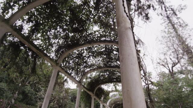 Slow right pan of garden arches in Jardim Botanico