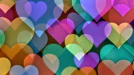 Slow Scrolling Colorful Background made from Hearts