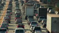 MS HA Slow traffic on multiple lane highway, Los Angeles, California, USA