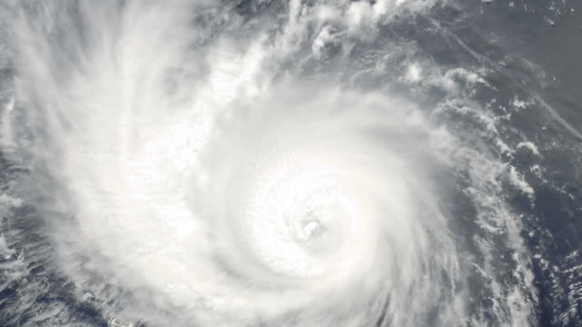 Slowly rotating cyclone viewed from space