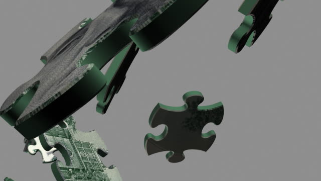 Slow-Motion Close-up Puzzle US Currency