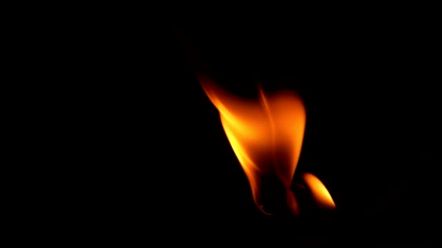 slow-motion, flame fire on black background