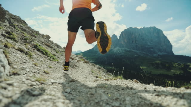 Slow-motion trail running on high mountain