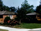 Small brick bungalow house with manicured landscape / front of bungalow with manicured lawn and landscape / brick bungalow house with manicured...
