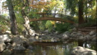 A small footbridge crosses over a small pond.