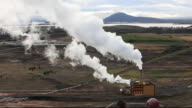 A small geothermal power station near Myvatn, Iceland. 100% of Iceland's electricity is produced from renewables, 70% from hydro and 30% from geothermal.