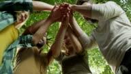 Kleine groep gelukkige vrienden handen meedoen eenheid
