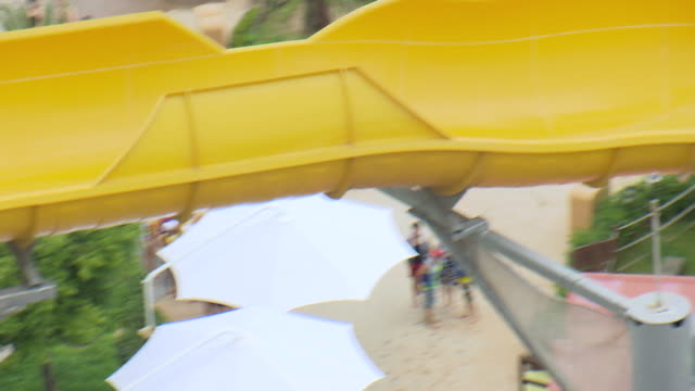 ARIEAL WS Small group of people doing water slide at yongin everland amusement park outdoor pool / Yongin, Gyeonggi-do, South Korea