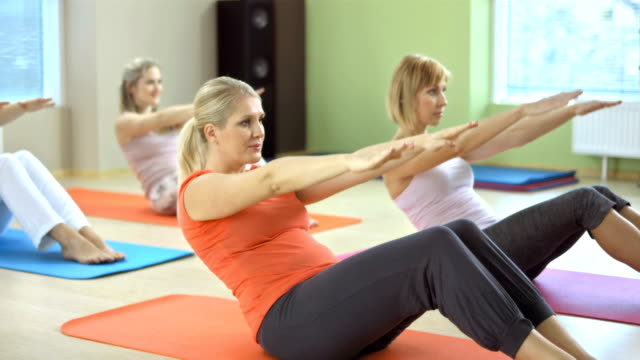 Small Group Of Women Doing Pilates