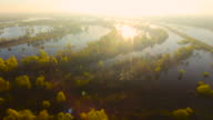 Small Pieces pf Land and Trees Growing in Pripyat River. Belarus.