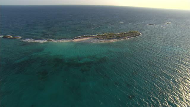 AERIAL Small resort island near Nassau, Bahamas