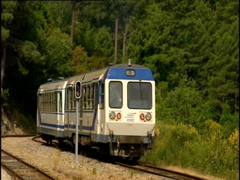Small train travels along tracks towards forest Estonia