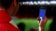 Smartphone at the game.