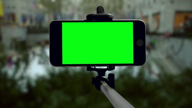 Smartphone groen scherm chromakey Kerst vakantie mobiele New York City