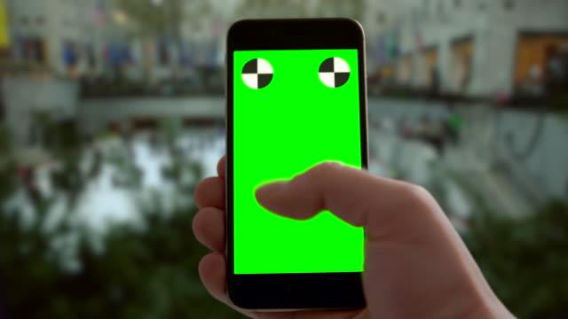 Smartphone groen scherm chromakey New York City Kerst vakantie schaatsen