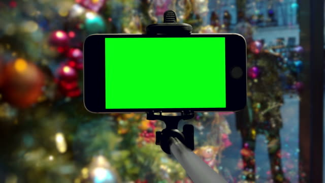 Smartphone groen scherm chromakey New York City Christmas mobiele vakantie