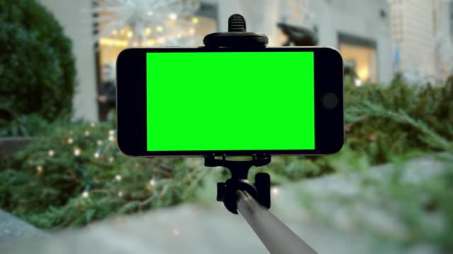 Smartphone groen scherm New York City chromakey Kerst vakantie mobiel