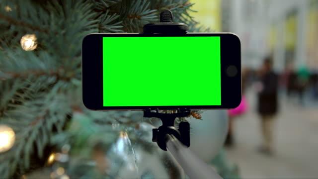 Smartphone mobiele groen scherm chromakey New York City kerstvakantie