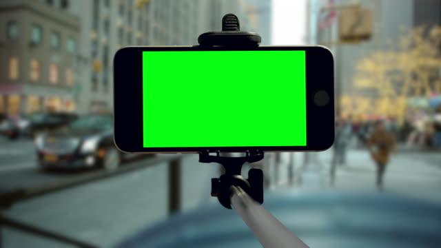 Smartphone New York City groen scherm chromakey Kerst vakantie mobiel