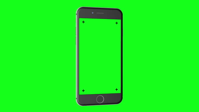 3D Smartphone (portrait orientation) rotates on Chroma Key Green BG