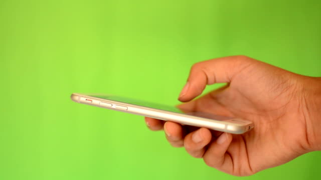 Smartphone touchscreen on green screen
