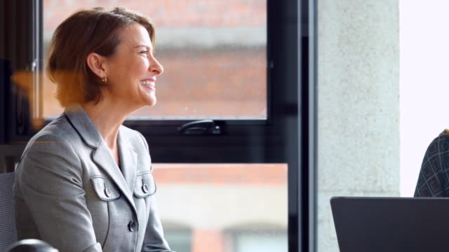 MS Smiling businesswoman in discussion with colleagues during meeting in office conference room