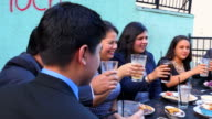 MS PAN Smiling family toasting during celebration meal on restaurant deck