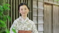 Smiling Kimono Wearing Woman Outside Wooden Building