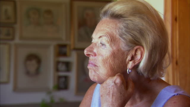 Cu Smiling Senior Woman At Home Halifax Nova Scotia Canada Stock Footage Vide