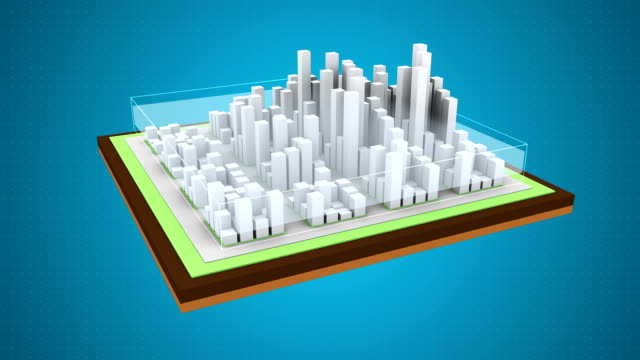 Smog over the city. Air pollution. 3d animation.