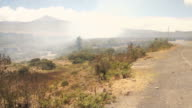 Smoke coming from a near fire in the Cotopaxi National Park