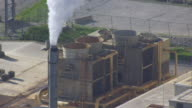 WS DS AERIAL POV Smoke coming out from funnel at Biodiesel plant / Keokuk, Iowa, United States