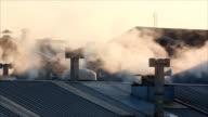Smoke from chimney.
