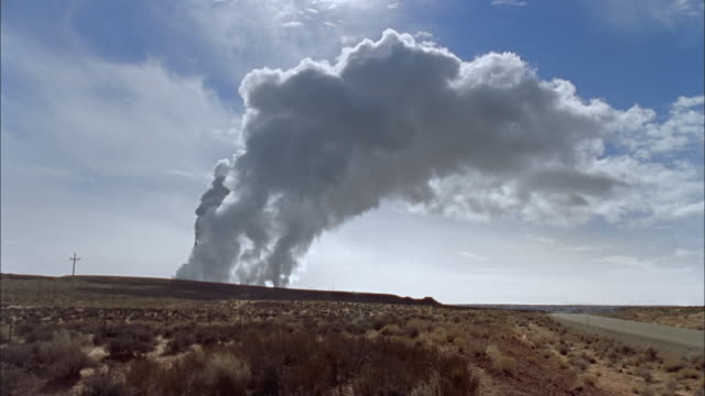 WS, Smoke from coal-fired power plant over field, Page, Arizona, USA