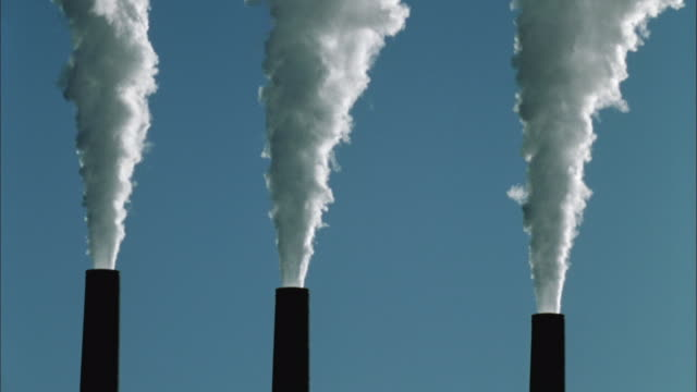 T/L, MS, Smoke from  three coal-fired power plant chimneys, Page, Arizona, USA